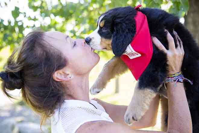A young woman from a foster family kisses her Mira dog